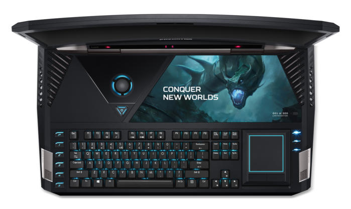 acer predator 21 x gx21 71 keyboard from above lights on touchpad