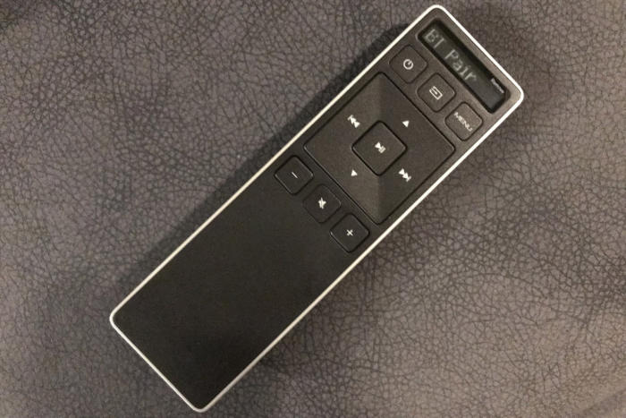 The included remote connects via Bluetooth.