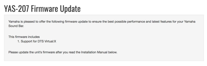 My review unit required a firmware update to activate DTS Virutal:X functionality.