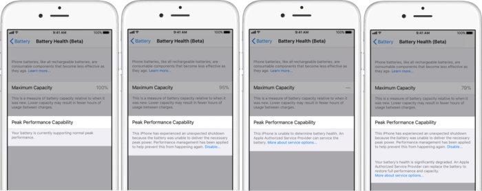 ios 11.3 battery health screens