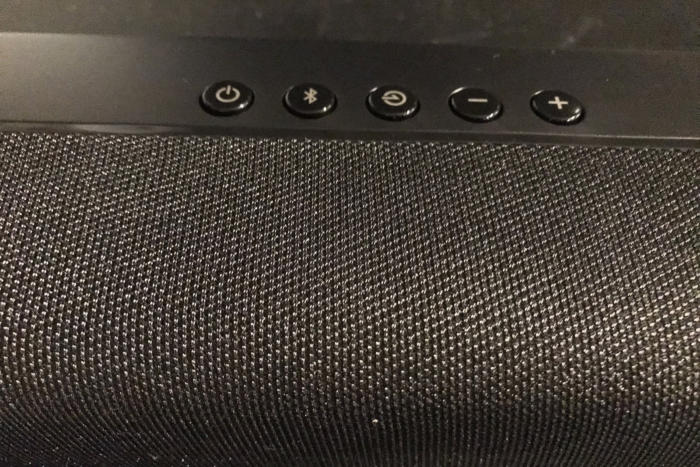 The top of the sound bar has buttons for all basic functions.