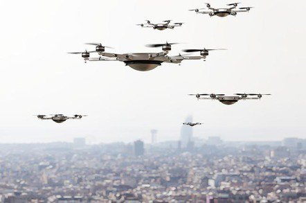 shutterstock drone city - On yer bike! Boffins teach AI drone to fly itself using cams on bicycles, self-driving car