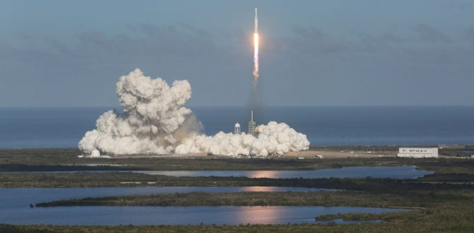 A SpaceXs Falcon Heavy rocket 1 670x330 - SpaceX Launches Twin NASA Probes to Track Earth's Water