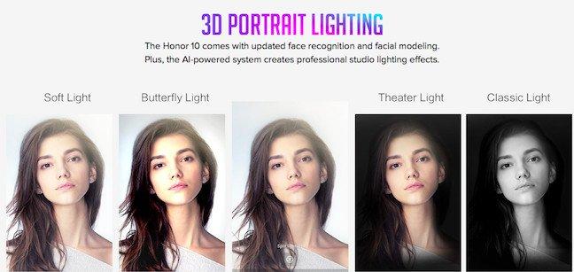 Honor 10 3d portrait lighting