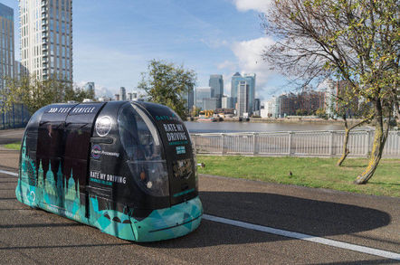 greenwich driverless pod parked - UK.gov lobs £25m at self-driving, self-parking, self-selling auto autos