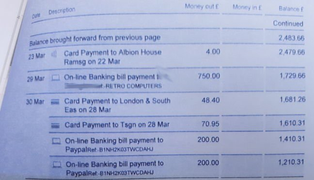 An extract from a copy of Retro Computers Ltd's bank statements, as filed at Luton County Court